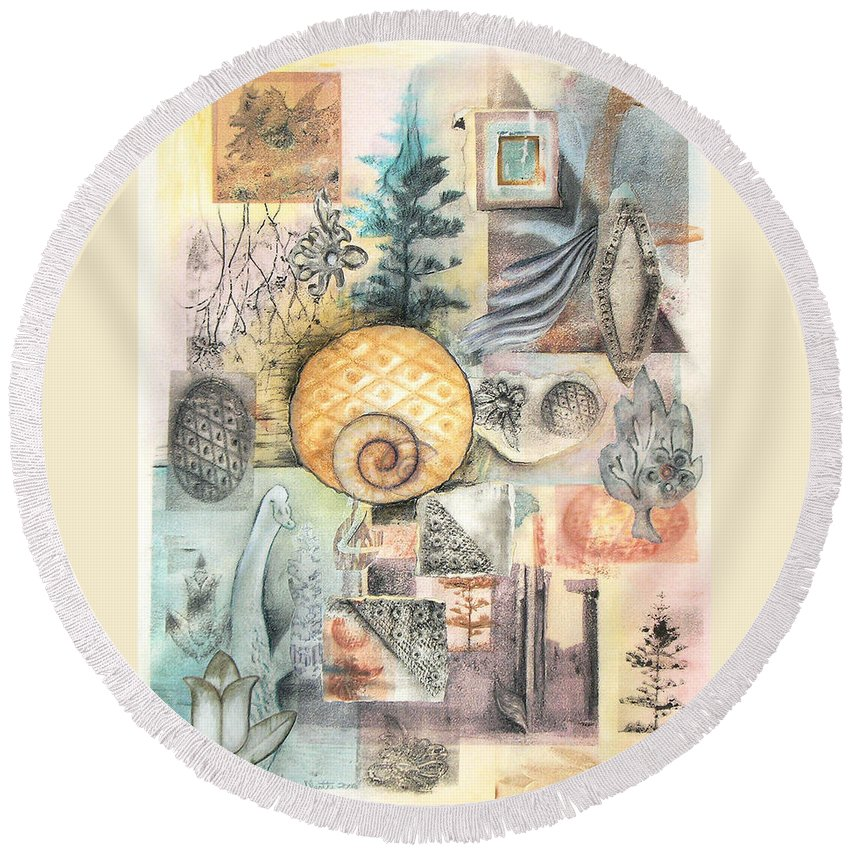 Abstract Round Beach Towel featuring the mixed media Up And Away by Valerie Meotti