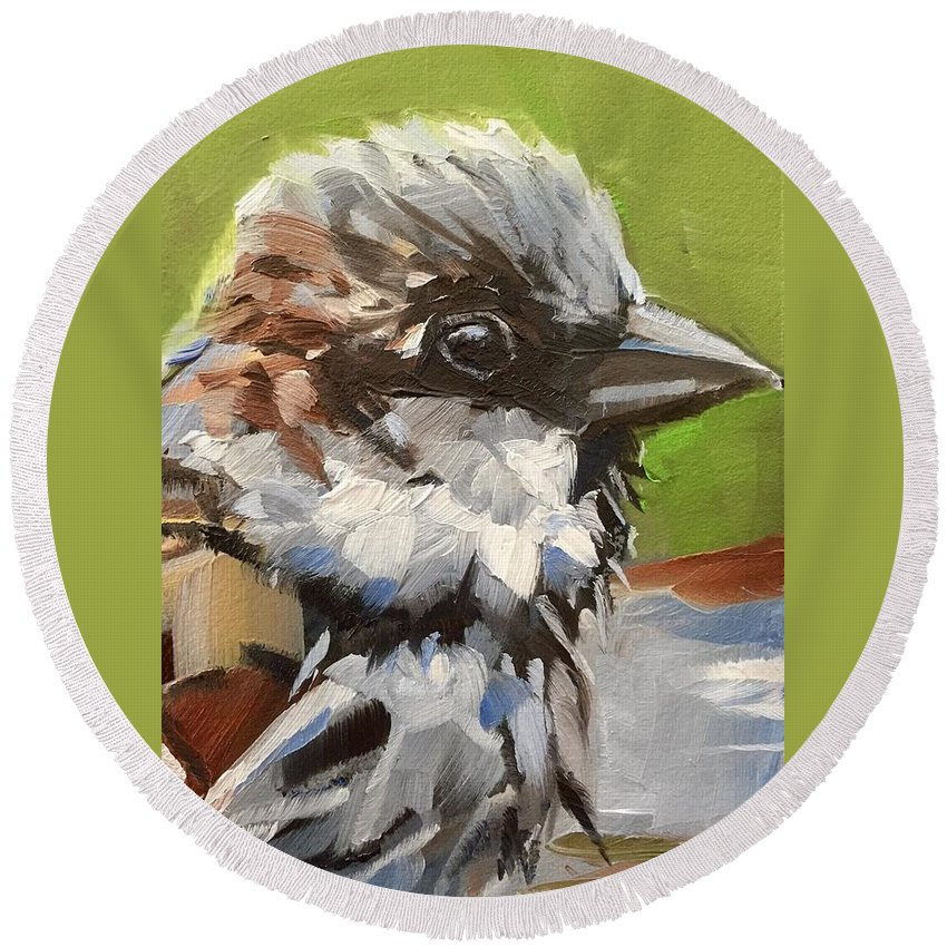 Bird Round Beach Towel featuring the painting Up Close by Gary Bruton