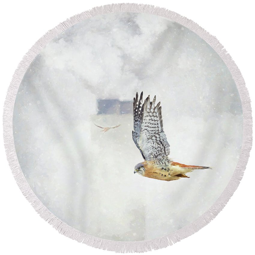 Kestrels Round Beach Towel featuring the digital art Up In Smoke by Ulanawa Foote