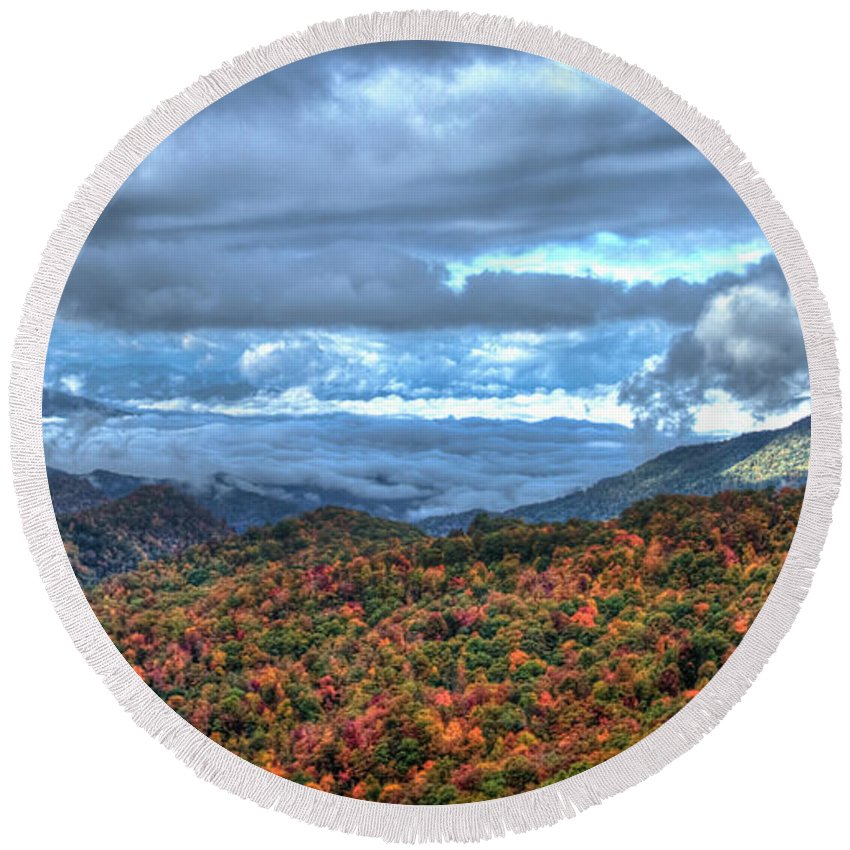 Reid Callaway Up In The Clouds Round Beach Towel featuring the photograph Up In The Clouds Blue Ridge Parkway Mountain Art by Reid Callaway