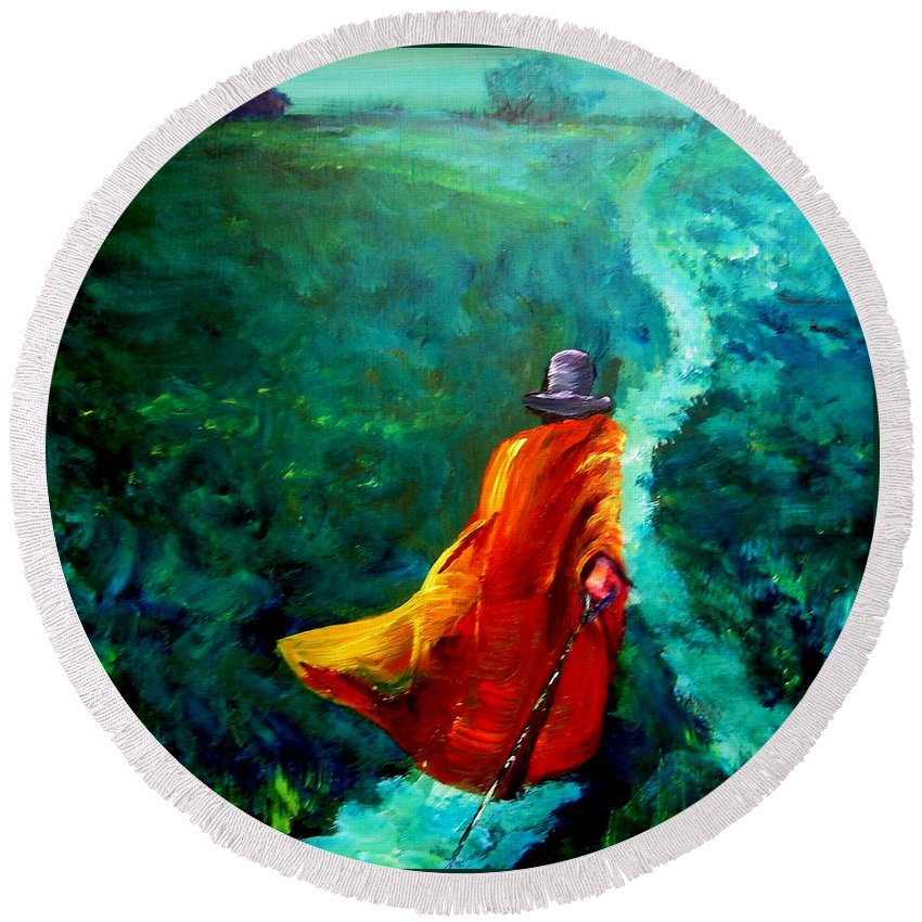 Expressionist Round Beach Towel featuring the painting Up That Hill by Jason Reinhardt