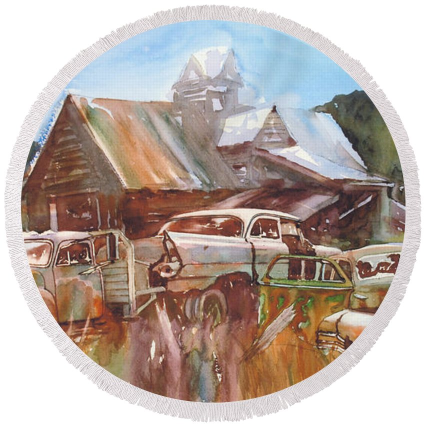 Chev Plymouth House Barn Round Beach Towel featuring the painting Up the Road a Bit by Ron Morrison