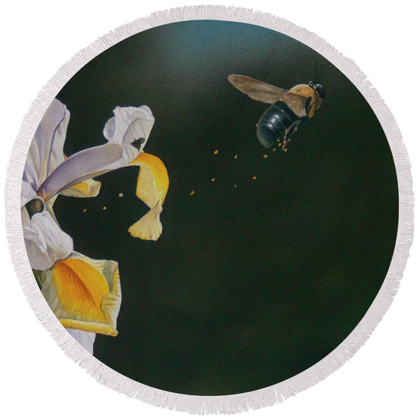 Bee Round Beach Towel featuring the painting Up, Up And Away by Donnie Hughes