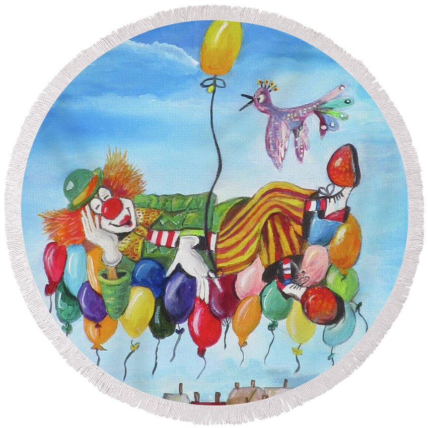 Clown Round Beach Towel featuring the painting Up, Up And Away by Mikki Alhart