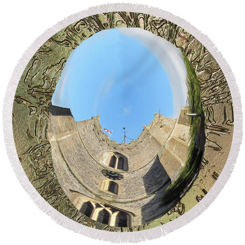 Upavon Round Beach Towel featuring the photograph Upavon Church by Richard Thomas