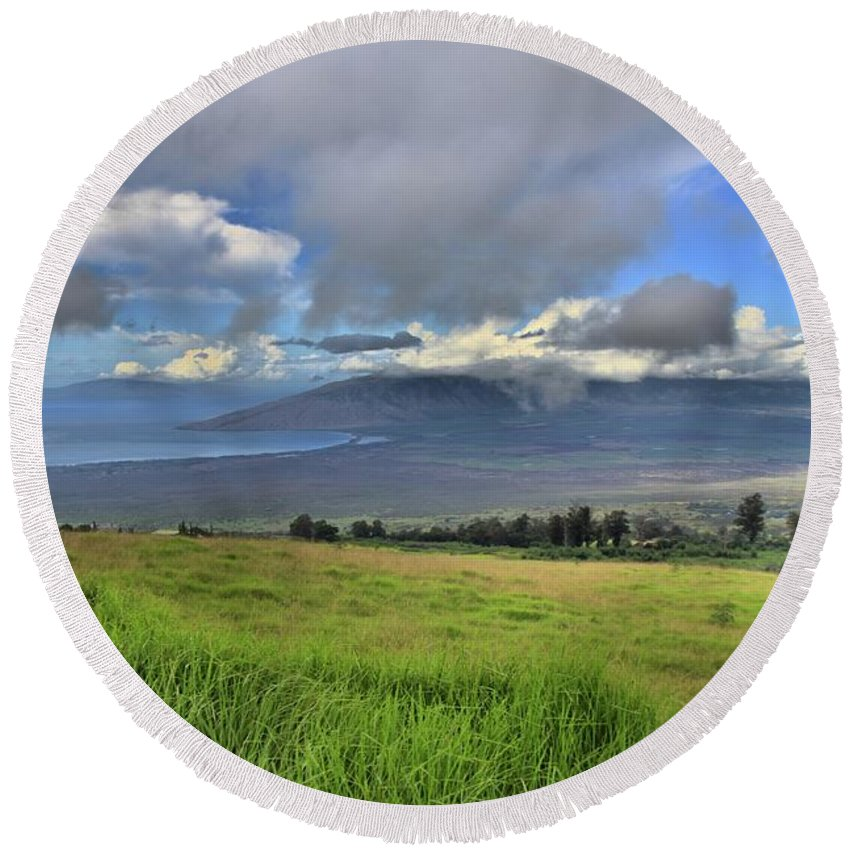 Maui Round Beach Towel featuring the photograph Upcountry Maui by DJ Florek