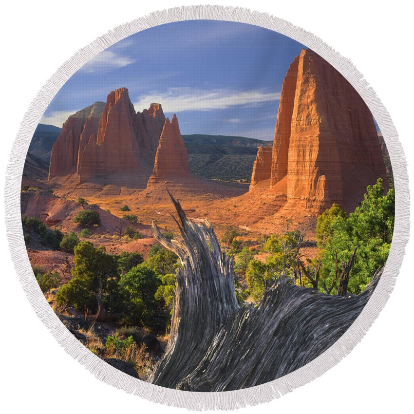 Monoliths Round Beach Towel featuring the photograph 212645-upper Cathedral Valley by Ed Cooper Photography