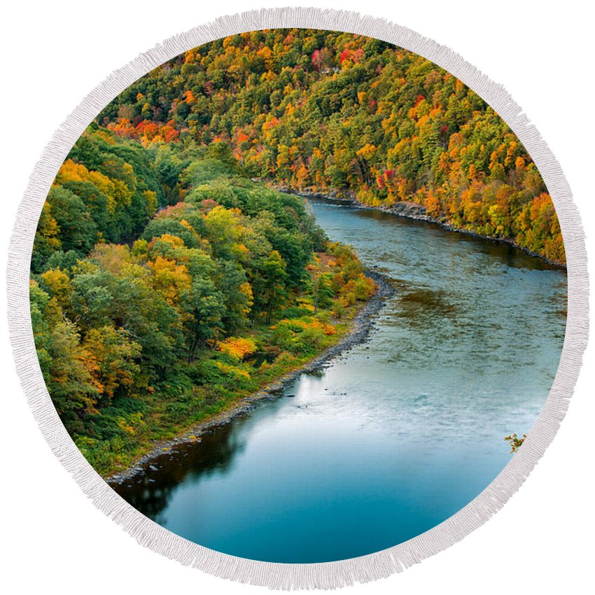 Hawks Nest Round Beach Towel featuring the photograph Upper Delaware River by Mihai Andritoiu