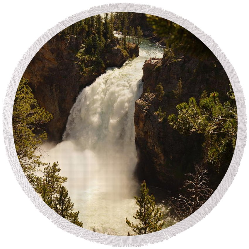 Canyon Round Beach Towel featuring the photograph Upper Falls by Beth Collins