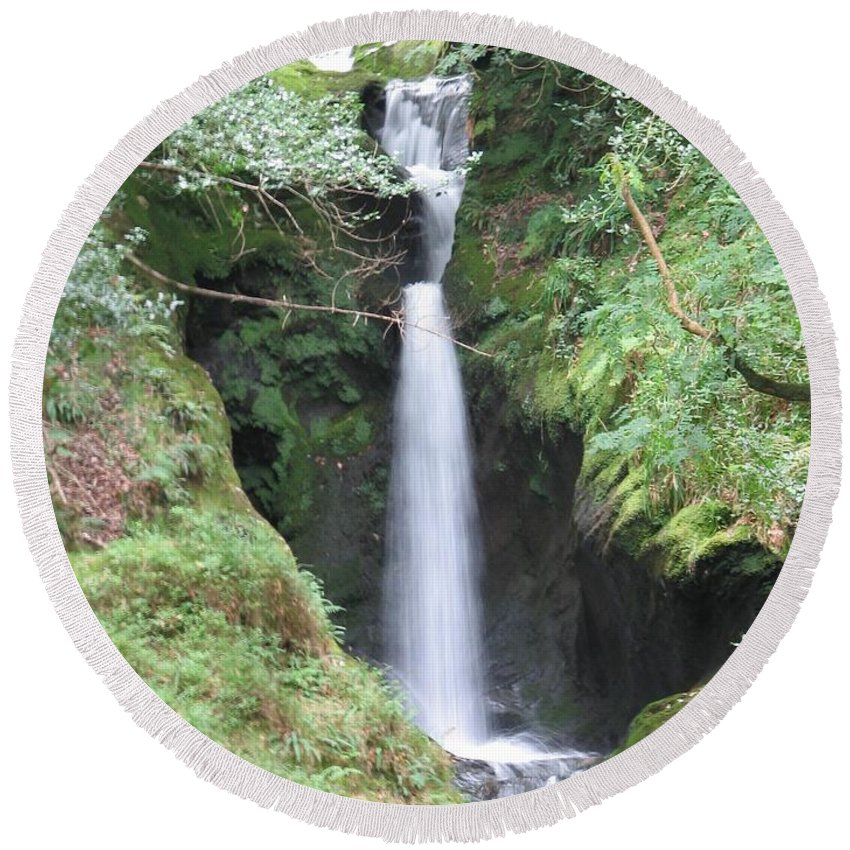 Glendalough Round Beach Towel featuring the photograph Upper Falls by Kelly Mezzapelle