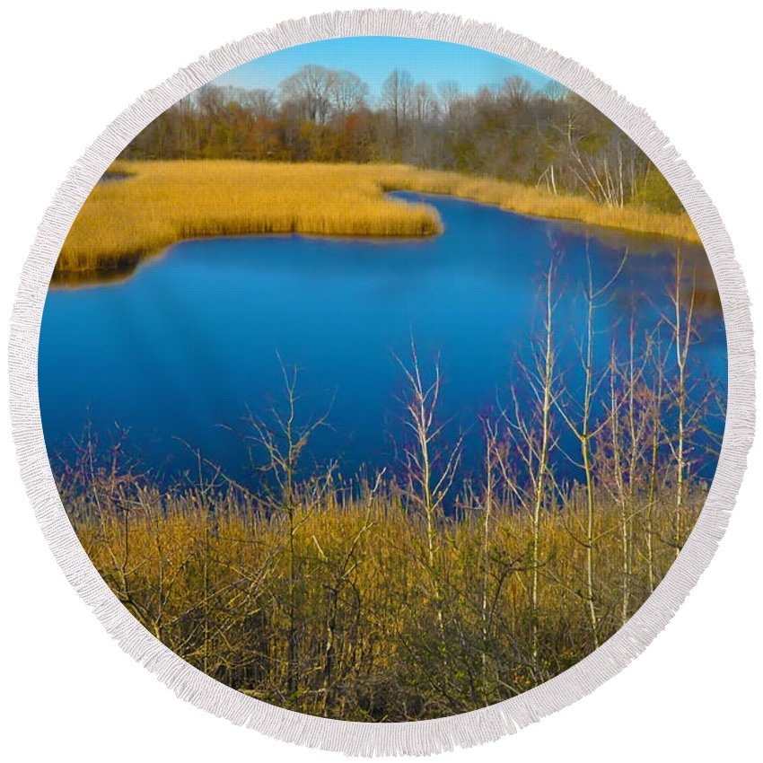 Philadelphia Round Beach Towel featuring the photograph Upper Roxborough Reservoir by Bill Cannon