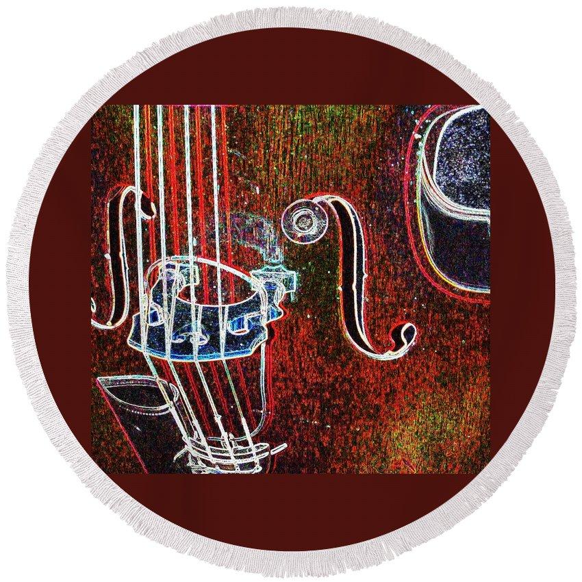 Upright Bass Round Beach Towel featuring the digital art Upright Bass Close Up by Anita Burgermeister