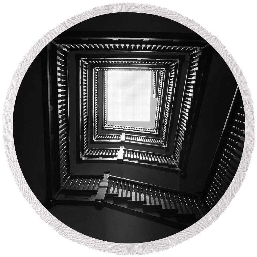 Stairs Round Beach Towel featuring the photograph Upstairs- Black And White Photography By Linda Woods by Linda Woods