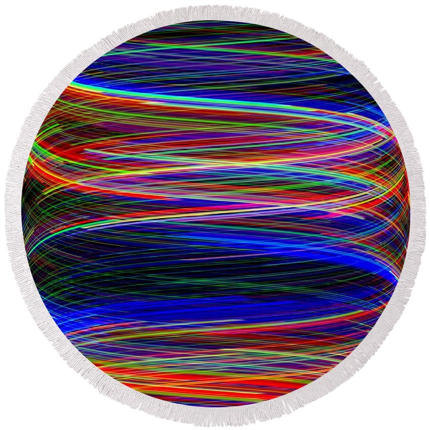 Abstract Round Beach Towel featuring the digital art Upwardly Mobile by Will Borden