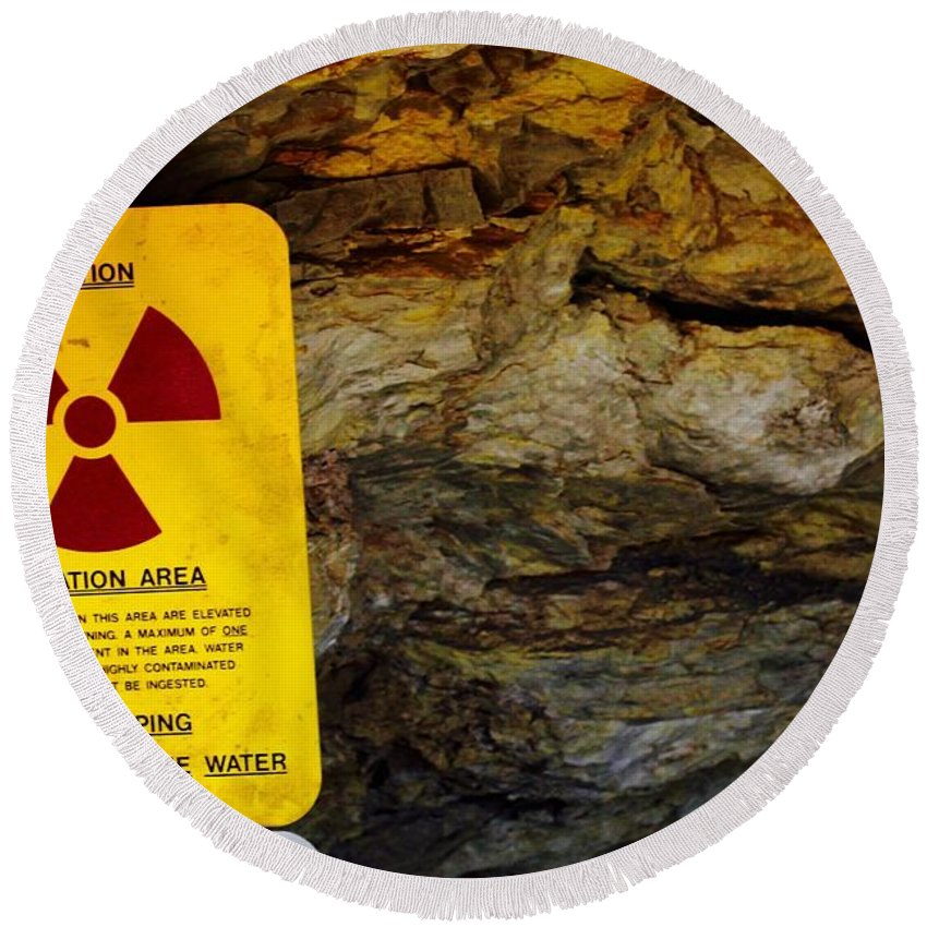 Round Beach Towel featuring the photograph Uranium Mine In Capitol Reef Np by Matthew Justis