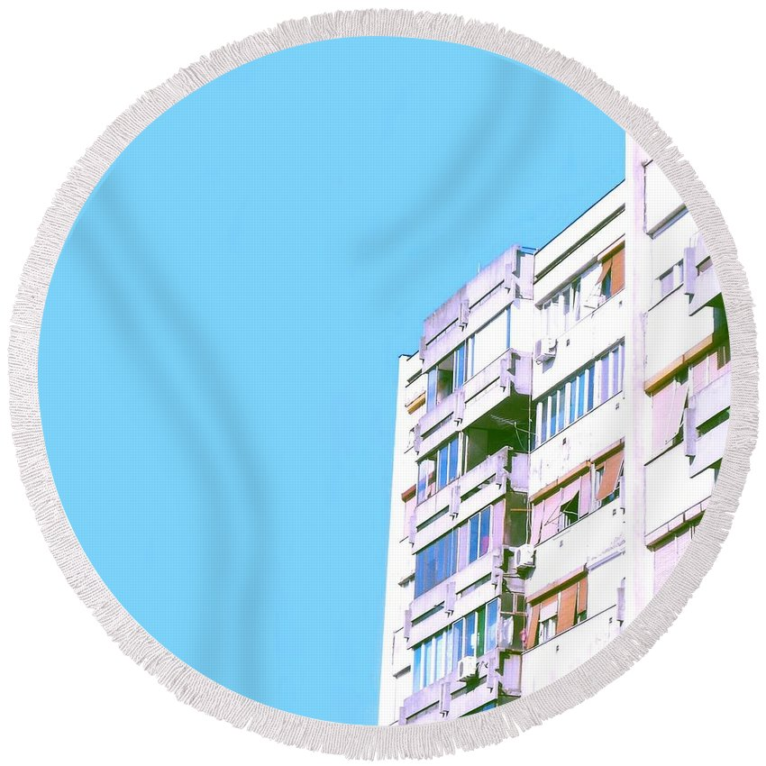 Urban Round Beach Towel featuring the photograph Urban #1 by Teodora Bisenic