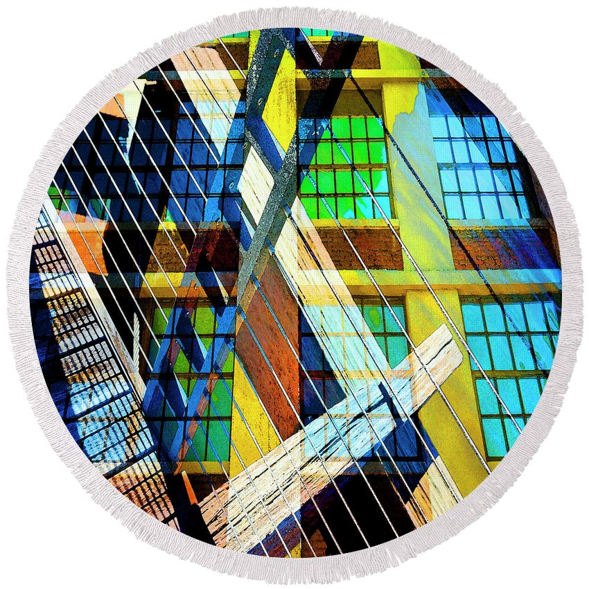 City Round Beach Towel featuring the photograph Urban Abstract 123 by Don Zawadiwsky