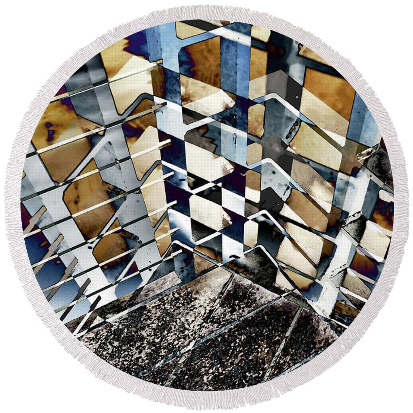 City Round Beach Towel featuring the photograph Urban Abstract 343 by Don Zawadiwsky