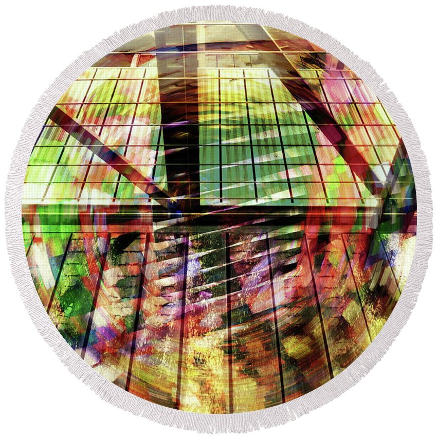 City Round Beach Towel featuring the photograph Urban Abstract 369 by Don Zawadiwsky