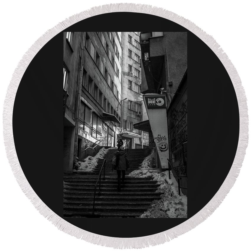 Architecture Round Beach Towel featuring the photograph Urban Darkness by Monika Garvalova