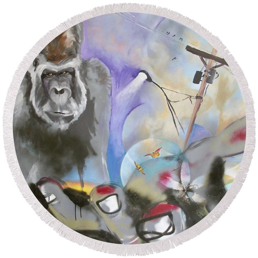 Urban Round Beach Towel featuring the painting Urban Gaze by Ross Wood