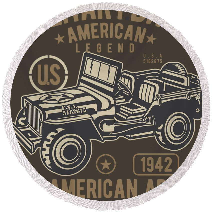 Jeep Round Beach Towel featuring the digital art Us American Amry Jeep by Robinvd