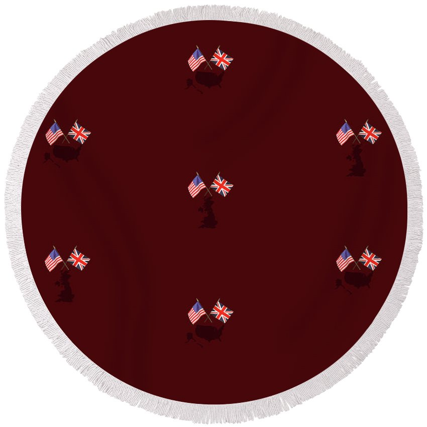 Digital Art Round Beach Towel featuring the digital art Us And Uk Flags Design - Burgundy by Raven Steel Design