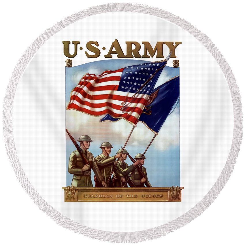 Us Army Round Beach Towel featuring the painting US Army -- Guardian Of The Colors by War Is Hell Store