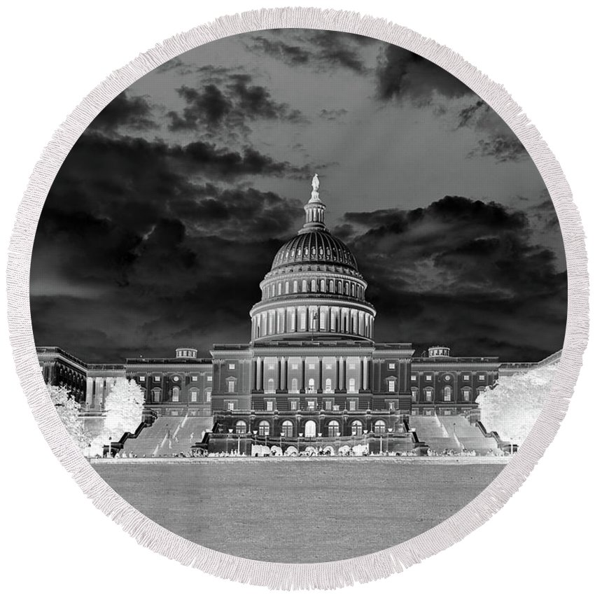 Congress Round Beach Towel featuring the photograph Us Capitol Washington Dc Negative by Kimberly Blom-Roemer