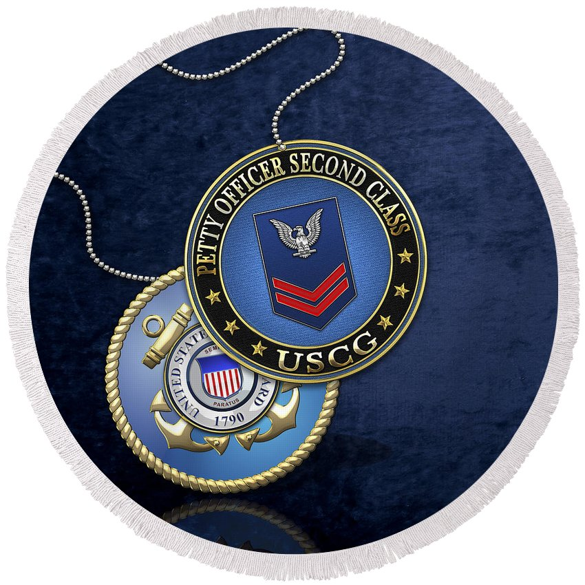 Military Insignia 3d By Serge Averbukh Round Beach Towel featuring the digital art U.s. Coast Guard Petty Officer Second Class - Uscg Po2 Rank Insignia Over Blue Velvet by Serge Averbukh