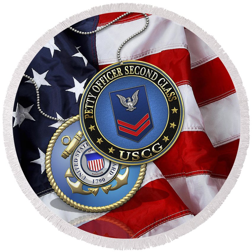 Military Insignia 3d By Serge Averbukh Round Beach Towel featuring the digital art U. S. Coast Guard Petty Officer Second Class - Uscg Po2 Rank Insignia Over Us Flag by Serge Averbukh