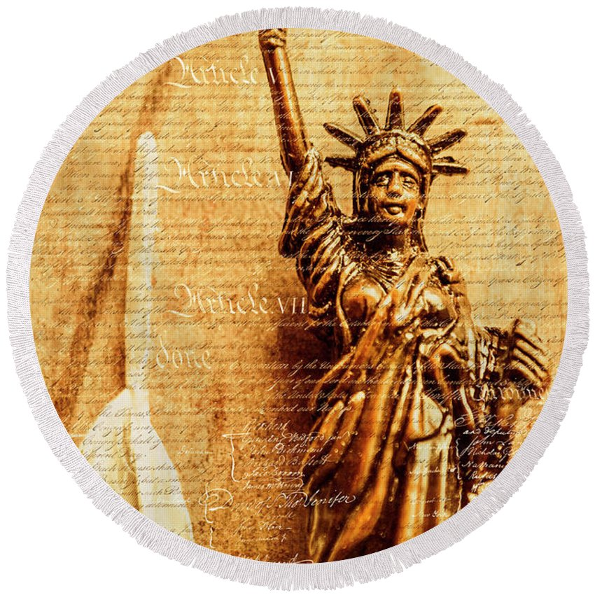 Liberty Round Beach Towel featuring the photograph Us Constitution by Jorgo Photography - Wall Art Gallery