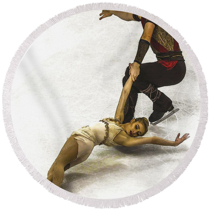 Decoration Round Beach Towel featuring the digital art U.s. Figure Skating Championships by Don Kuing