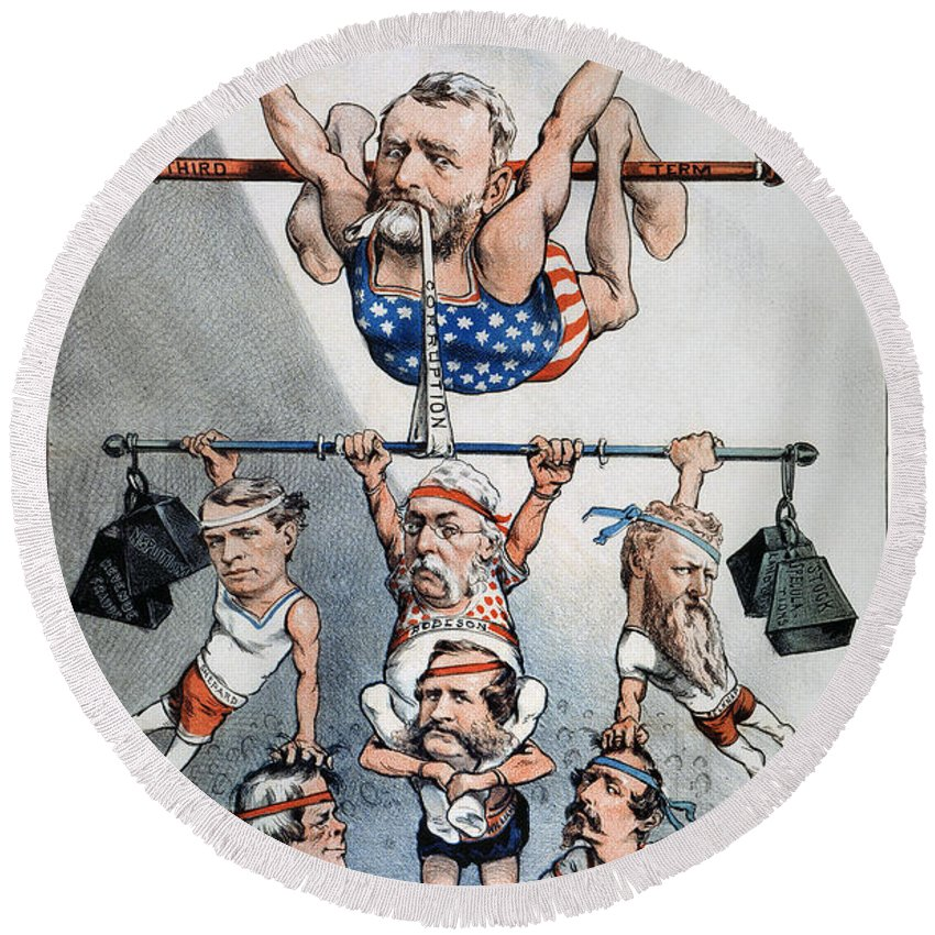 1880 Round Beach Towel featuring the photograph U.s. Grant Cartoon, 1880 by Granger