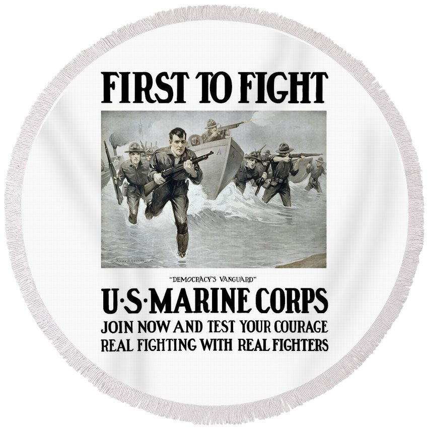 Marines Round Beach Towel featuring the painting Us Marine Corps - First To Fight by War Is Hell Store