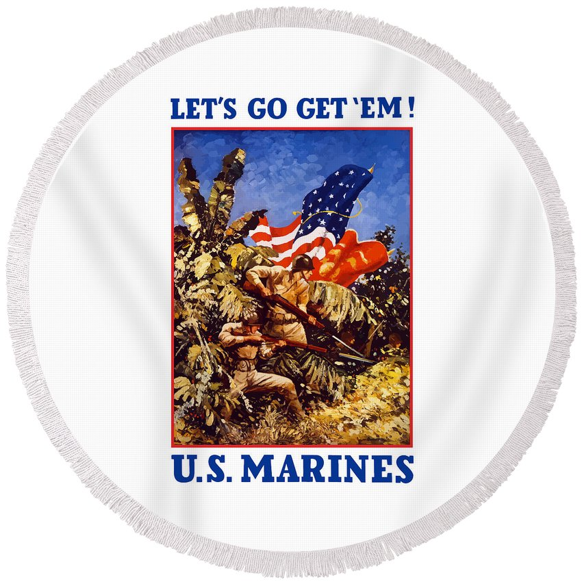 Marines Round Beach Towel featuring the painting Us Marines - Ww2 by War Is Hell Store