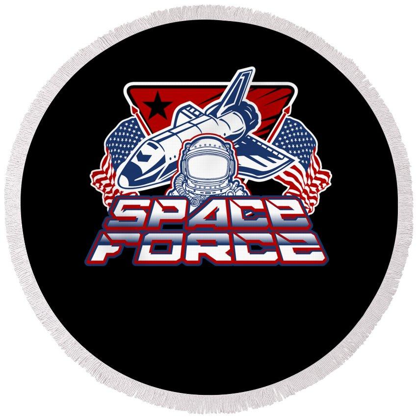 Space-force Round Beach Towel featuring the digital art Us Space Force Art Spaceship Us Flag Astronaut Dark by Nikita Goel