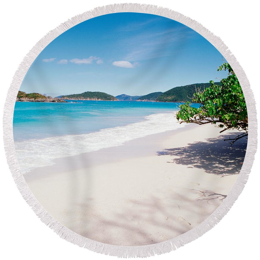 Photography Round Beach Towel featuring the photograph Us Virgin Islands, St. John, Cinnamon by Panoramic Images