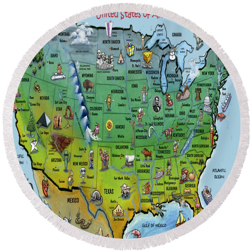 Map Round Beach Towel featuring the painting Usa Cartoon Map by Kevin Middleton