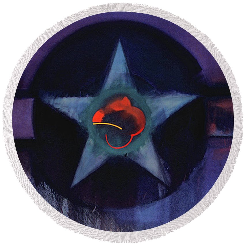 Usaaf Insignia Round Beach Towel featuring the painting Usaaf Lilac by Charles Stuart