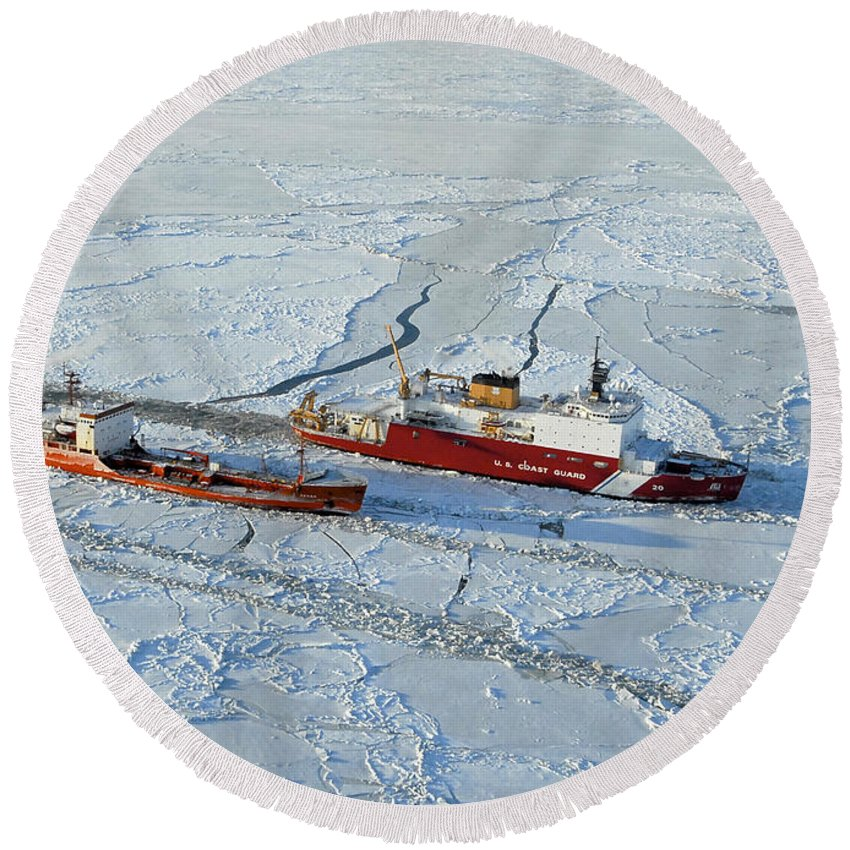 Us Coast Guard Round Beach Towel featuring the photograph Uscg Healy Breaks Ice by Stocktrek Images