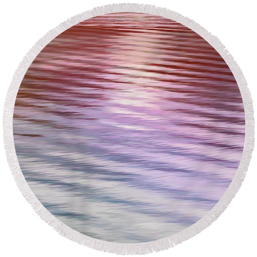 Ushuaia Round Beach Towel featuring the photograph Ushuaia Ar - Ocean Ripples 2 by Stefan H Unger