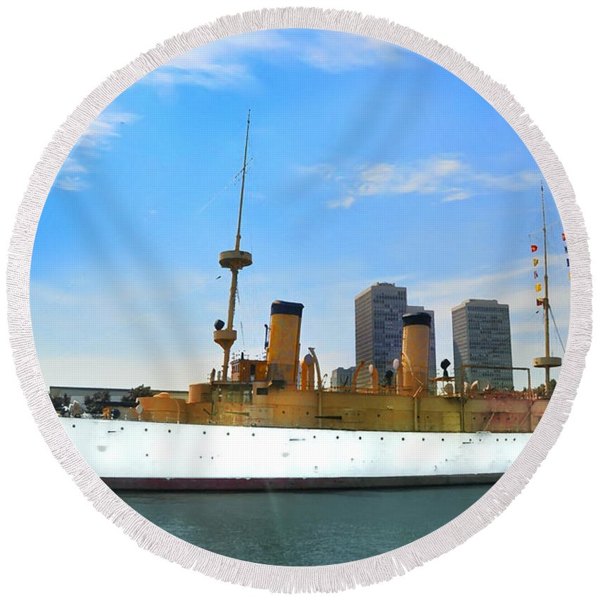 Spanish American War Round Beach Towel featuring the photograph Uss Olympia by Bill Cannon