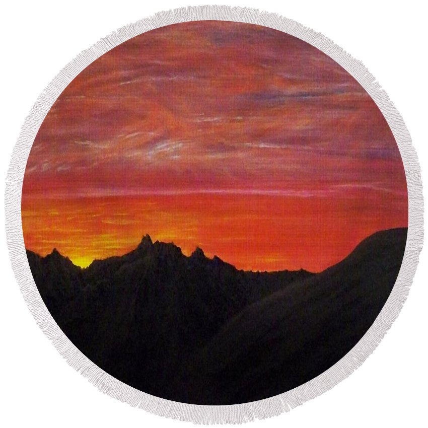 Sunset Round Beach Towel featuring the painting Utah Sunset by Michael Cuozzo