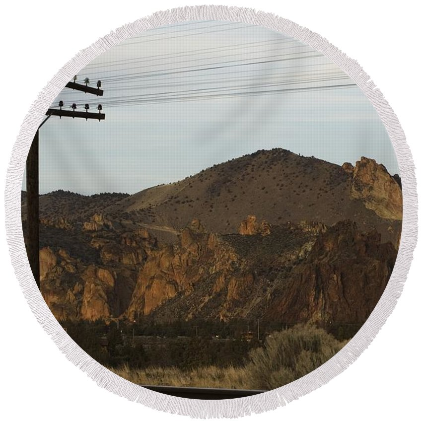 Smith Rock Round Beach Towel featuring the photograph Utility Pole by Sara Stevenson