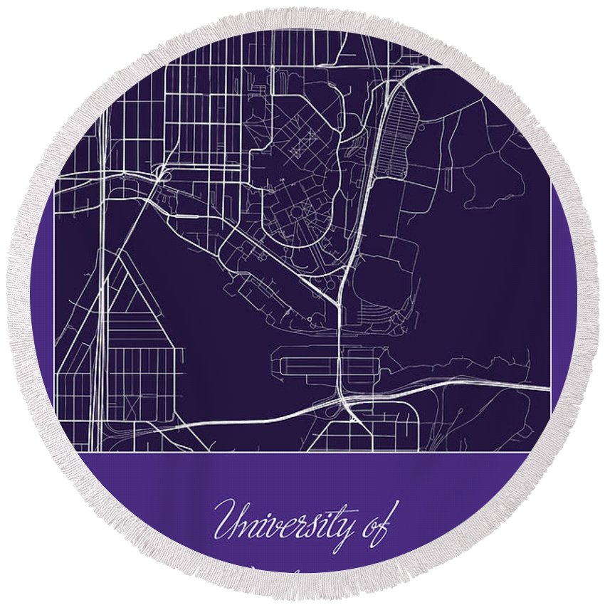 Road Map Round Beach Towel featuring the digital art Uw Street Map - University Of Washington Seattle Map by Jurq Studio