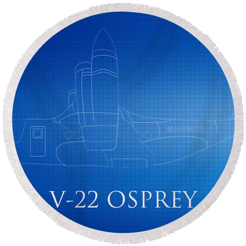 V-22 Osprey Photograph Round Beach Towel featuring the photograph V-22 Osprey Blueprint by Brooke Roby
