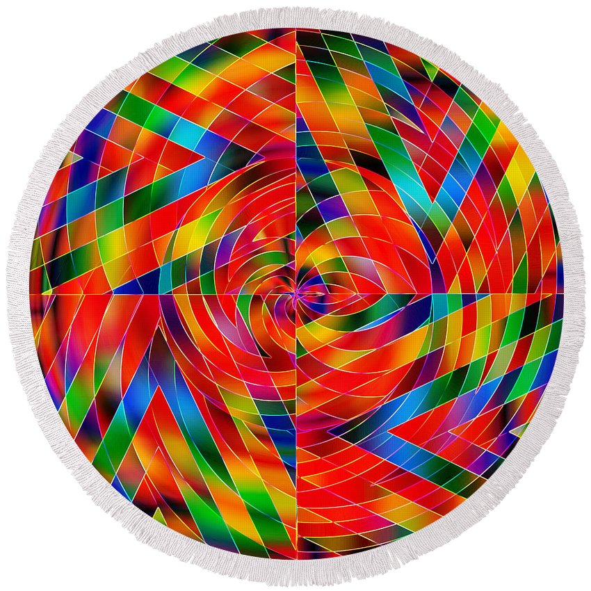 V Round Beach Towel featuring the digital art V by Diane Parnell