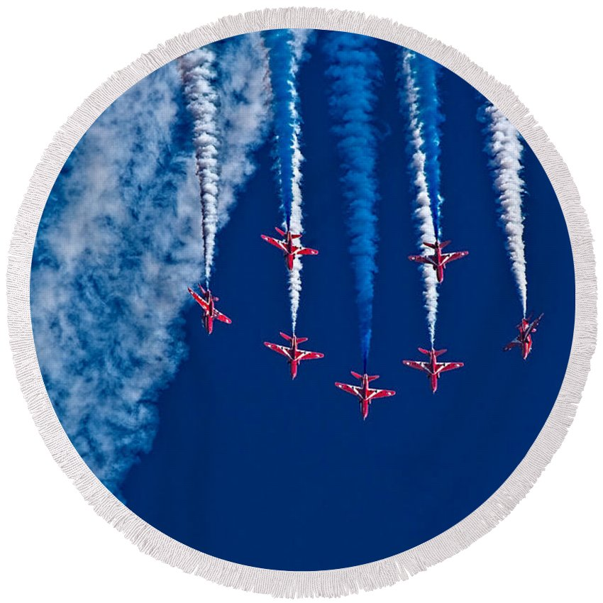 Red Arrows Round Beach Towel featuring the photograph Vaaazooooom by Chris Lord