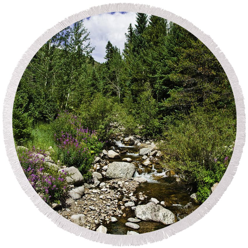 Vail Round Beach Towel featuring the photograph Vail Stream In The Summer 2 by Madeline Ellis